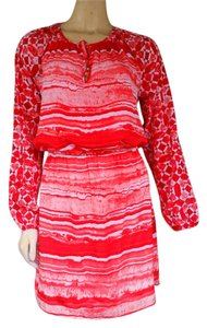 Michael by Michael Kors short dress Red Coral Blouson Long Sleeves Lined Striped on Tradesy