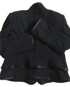 Escada Stunning Black Pure New Wool, Escada Suit with Silk Ribbon Ruffle Collar on Jacket and Skirt