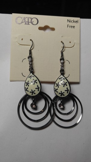 Cato Cato Dangle Hoop Earrings Black White Silver Jewelry J1786