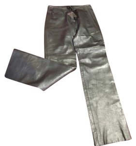 BCBGMAXAZRIA Gunmetal Leather Straight Pants Gunmetal Metallic