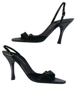Charles David Leather Suede Slingbacks Heels Black Sandals