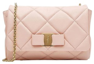 Salvatore Ferragamo Quilted Bow Ballerina Pink Classic Cross Body Bag