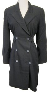 Hugo Buscati Milano Navy Blue Long Trench Coat Blazer