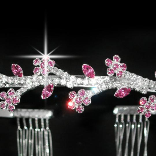Florally Pink And Leaves Tiara