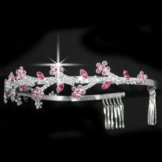 Pink and Clear Florally Leaves Tiara