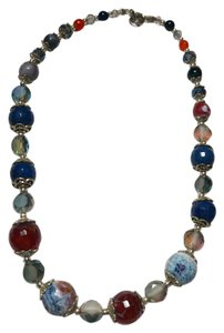 Blue & Orange Agate Gemstone Necklace Handmade Silver Tone J1789