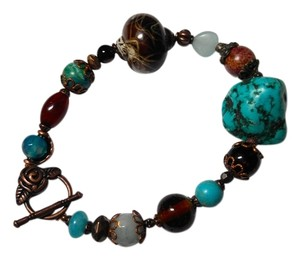 New Turquoise & Black Onyx Gemstone Bracelet J1790