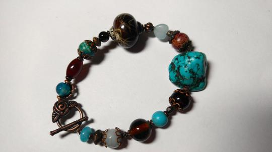 Other New Turquoise & Black Onyx Gemstone Bracelet J1790