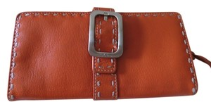 Cole Haan Cole Haan Orange Leather Wallet with Silver Buckle and White Stitching