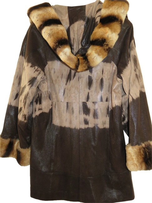Ottimo Leather Fur Trim Chinchilla Fur Coat