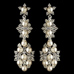 Elegance By Carbonneau Glamorous Pearl And Rhinestone Wedding Earrings