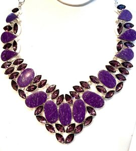 Other Unique Purple Turquoise and Amethyst 925 Sterling Silver Statement Necklace
