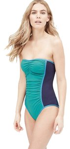 Ann Taylor LOFT LOFT Beach Colorblock Ruched One Piece Swimsuit Size 2