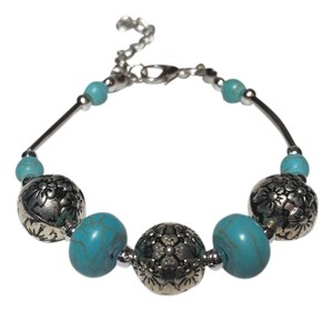 Other New Turquoise Gemstone Bracelet Silver Tone J1794