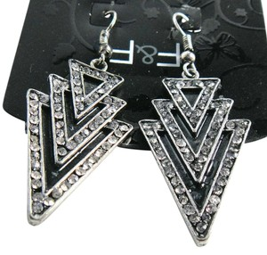 New F&F Black & Silver Tone Triangle Dangle Earrings 3 in. Long J1795