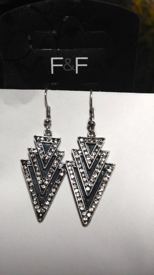Other New F&F Black & Silver Tone Triangle Dangle Earrings 3 in. Long J1798