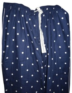 Lands' End Polka Dot Elastic Waist Pajama Pajamas Loungewear Soft Lounge End Pants