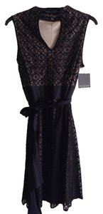Marc New York Fully Lined Lace Overlay Satin Waist With Satin Belt A Line Side Zipper Length Shoulder To Hem: 37.5