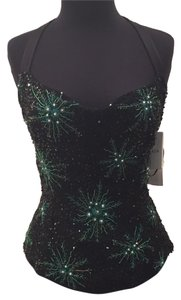 Escada Top Black w/Green and gold embellishments