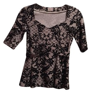 Anthropologie Peplum Stretchy Print Top Black and white