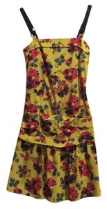 Rachel Roy Party Floral Silk Cocktail Drop Waist Funky Dress