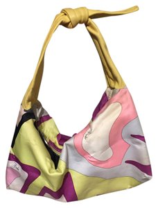 Emilio Pucci Yellow Silk Pink Leather Shoulder Bag