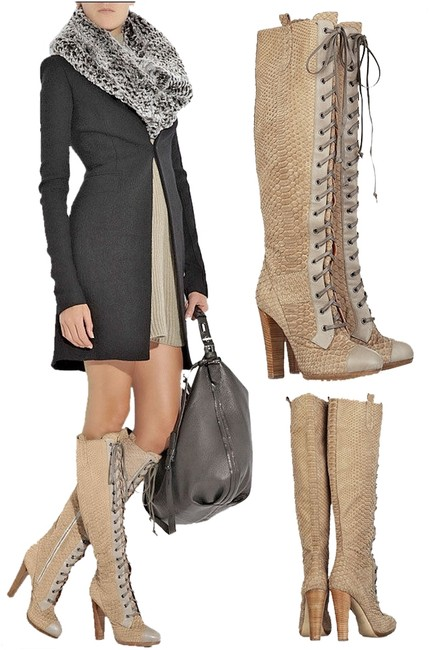 Item - Beige / Tan Knee High Python Boots/Booties Size US 7.5