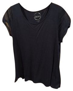 INC International Concepts Short Sleeve Sheer Sleeve Top Navy Blue