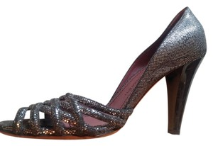 Jean-Michel Cazabat Shiny Silver Pumps