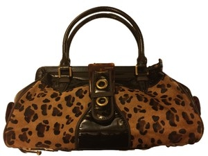 bebe Patent Leather Leopard Print Hobo Bag