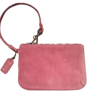 Coach Leather Suede Leather Suede Designer Designer Luxury Wristlet in pink