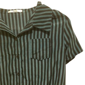 Papaya Open Shouldered Button Down Shirt Green Black