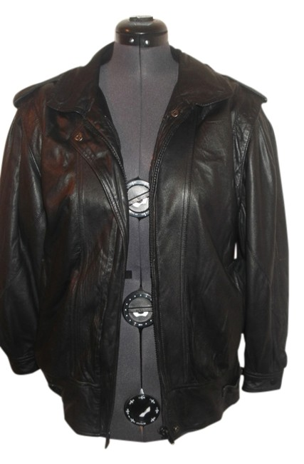 Preload https://item3.tradesy.com/images/saks-fifth-avenue-black-leather-bomber-43298-cardigan-size-10-m-10359937-0-1.jpg?width=400&height=650