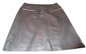 Cache Skirt leather dark gray soft thick leather