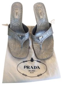 Prada Printed Powder Blue Sandals