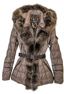 Gorski Real Fur Leather Trim Coat