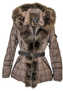 Neiman Marcus Real Fur Leather Trim Made In Italy Coat