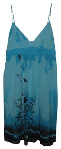 BCBGMAXAZRIA short dress Blue & Black Printed Baby Doll Silk on Tradesy