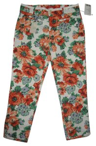 Anthropologie Ankle Pant Cropped Pant Capris Mulit Floral Print