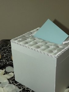 Victoria Lynn White Satin Card Box with Crystal Accents Reception Decoration