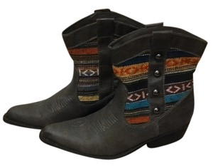 Madden Girl Cowboy Bootie Boot Grey and multi Boots