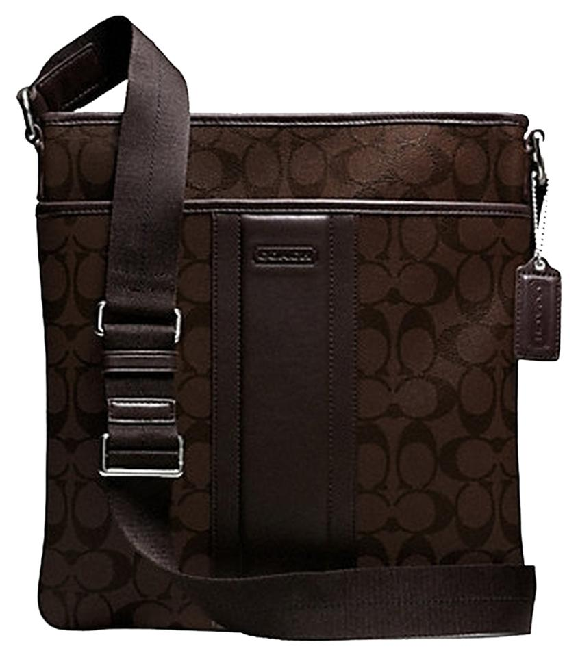 Coach Heritage Signature Small Zip Top F71131) Mahogany Brown Leather Cross  Body Bag