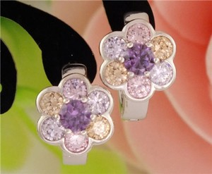 Silver Topaz Hoop Flower Earrings Free Shipping