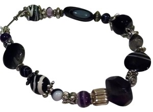New handmade Striped Agate & Amethyst gemstone bracelet jewelry accessory J162