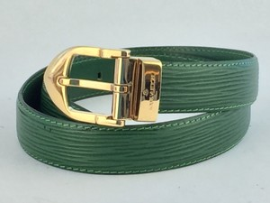 Louis Vuitton LOUIS VUITTON Ceinture Belt Buckle and Green Epi Leather
