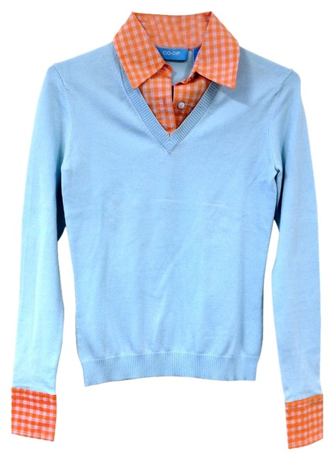Preload https://img-static.tradesy.com/item/1036799/sky-blue-and-sherbet-v-neck-with-checked-collared-shirt-sweaterpullover-size-0-xs-0-0-650-650.jpg
