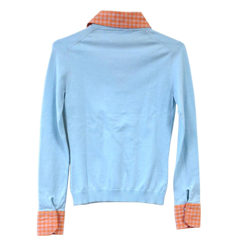 V Neck With Checked Collared Shirt Sky Blue Sherbet Sweater Tradesy