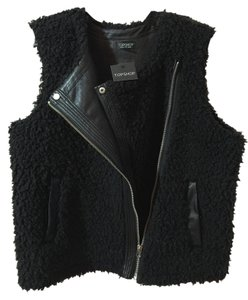 Topshop Shearling (faux) With Silver Hardware Can Be Dressy Or Casual Soft Outer And Inner Pockets At Side Purchased At New Vest