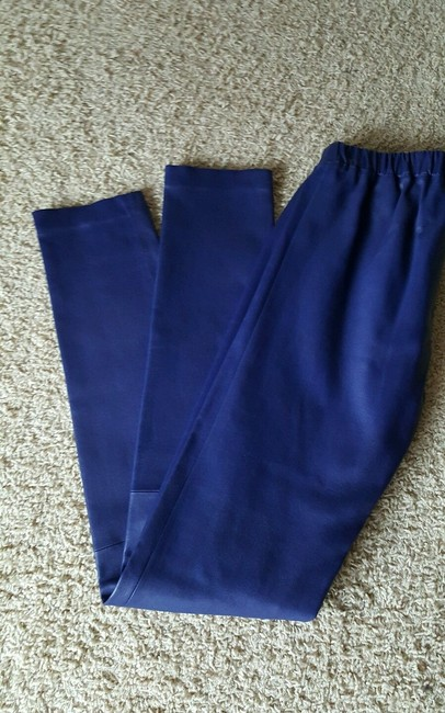 Monika Chiang Leather Stretchy Fitted Soft Skinny Cobalt Blue Leggings