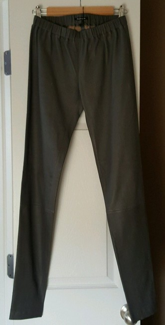 Monika Chiang Leather Fitted Stretchy Soft Skinny Grey Leggings